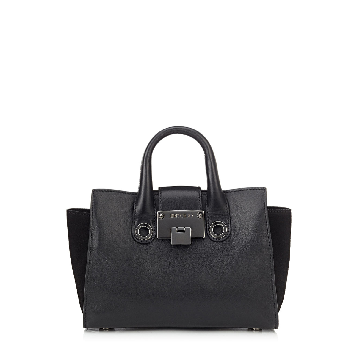 RILEY S Black Smooth Leather and Suede Small Tote Bag