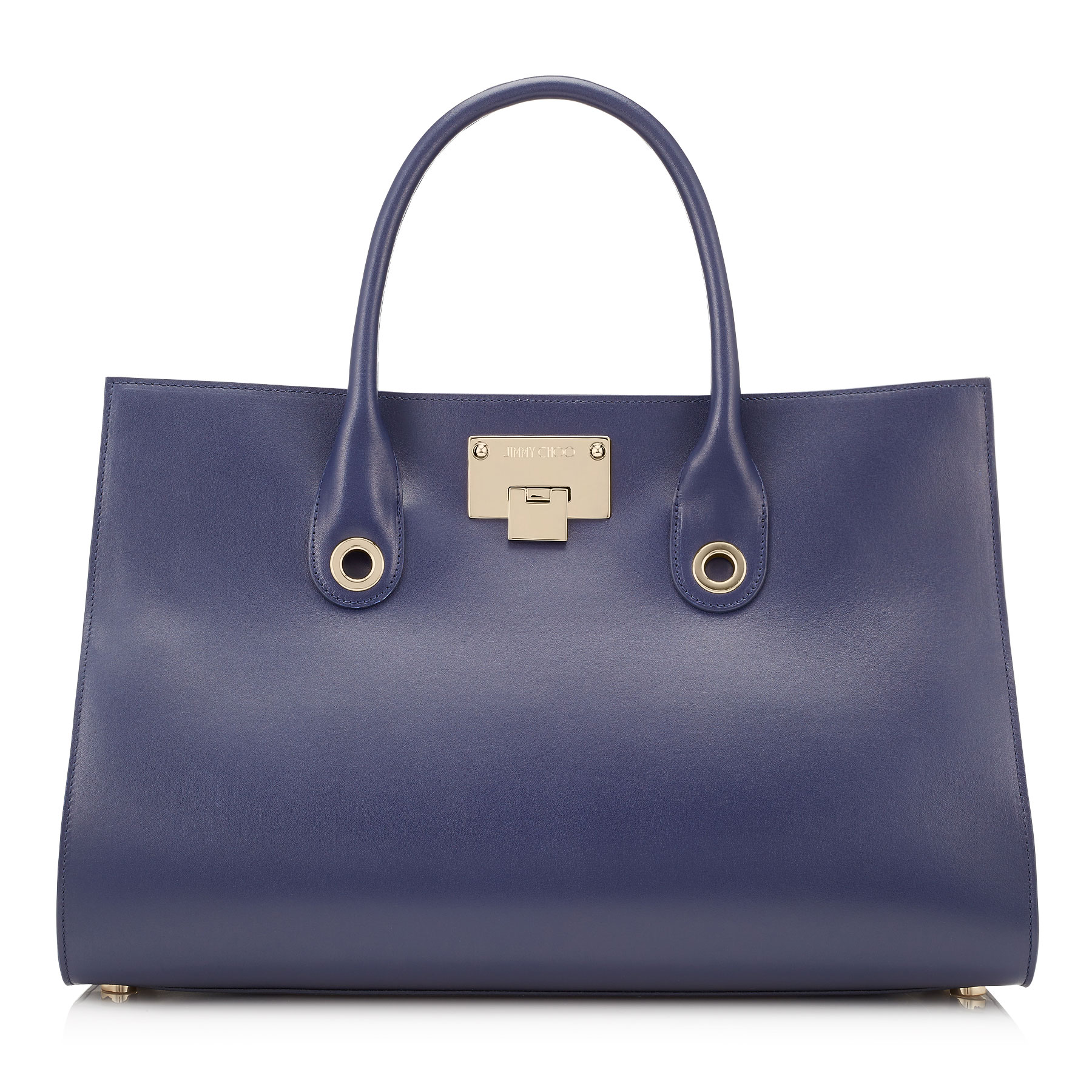 RILEY Navy Smooth Leather with Shimmer Suede Tote Bag