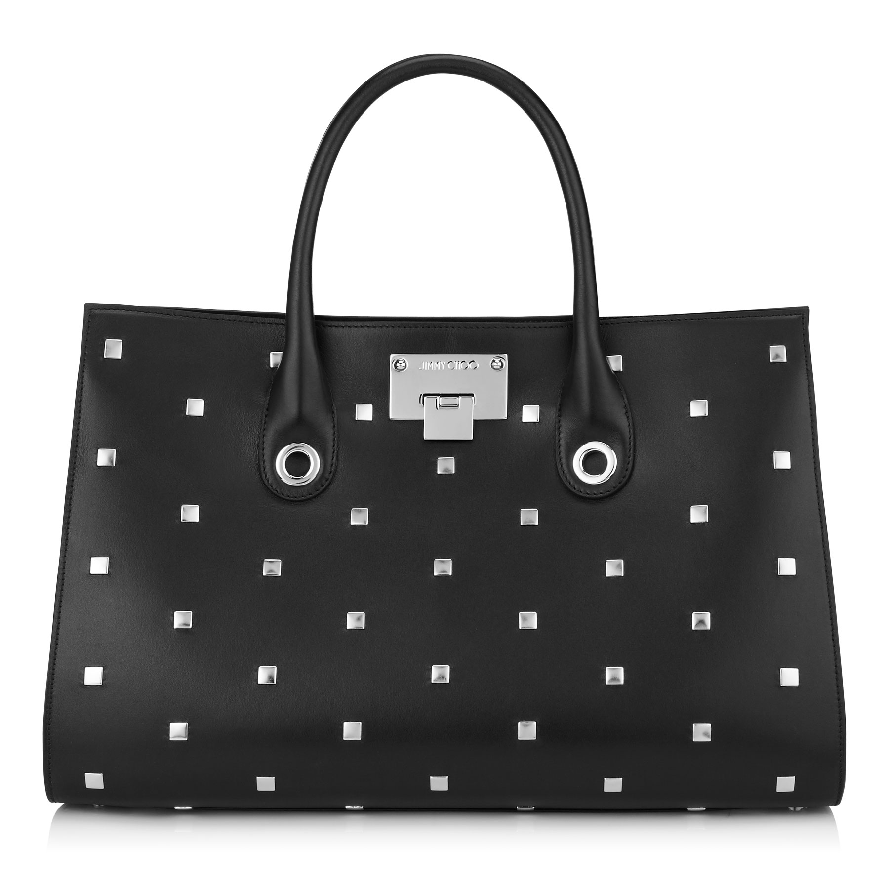 RILEY Black Smooth Leather with Square Studs Tote Bag