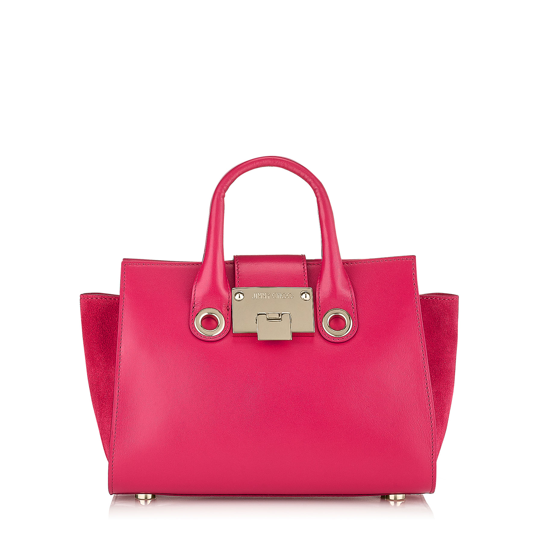 RILEY S Raspberry Smooth Leather and Suede Small Tote Bag