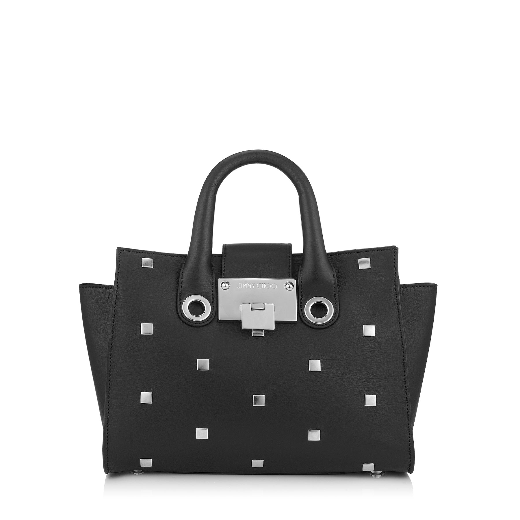 RILEY/S Small Black Smooth Leather Tote Bag with Square Studs