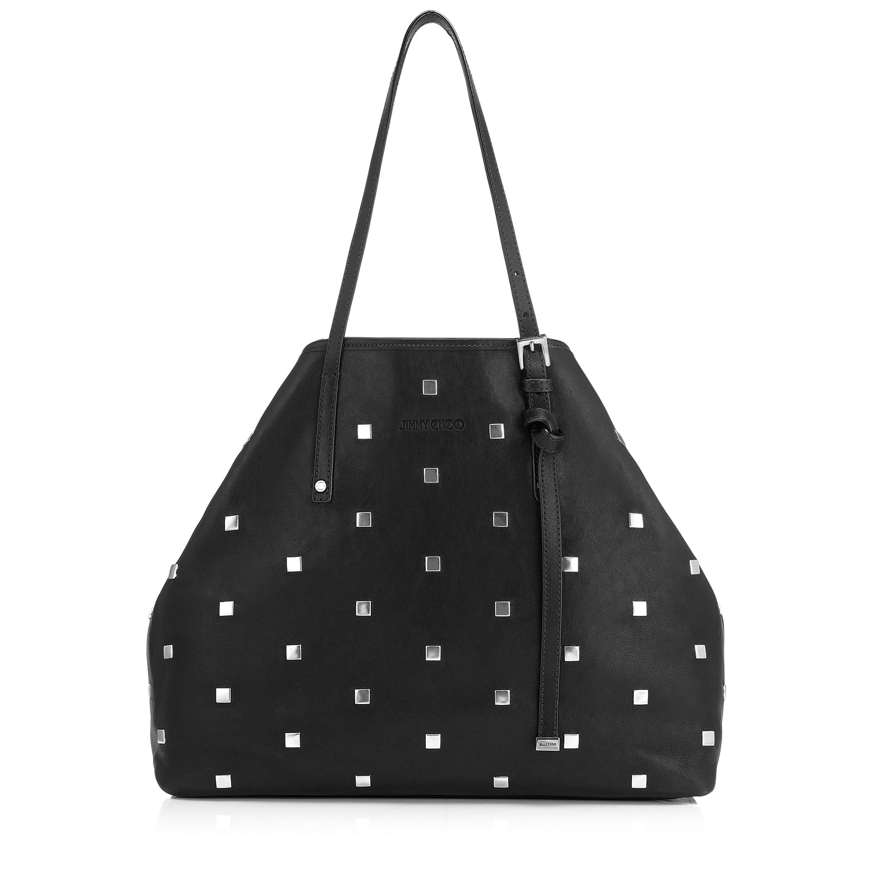 SASHA/M Black Leather Tote Bag with Square Studs