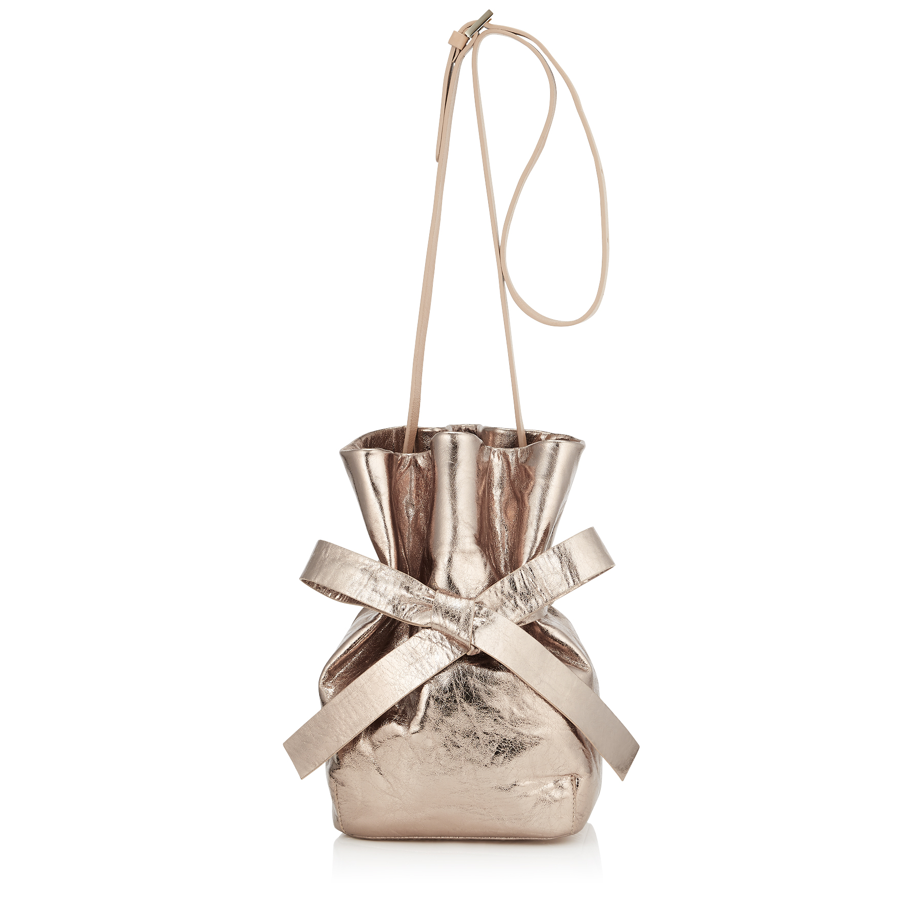 EVE Nude Metallic Crinkled Lambskin Bucket Bag