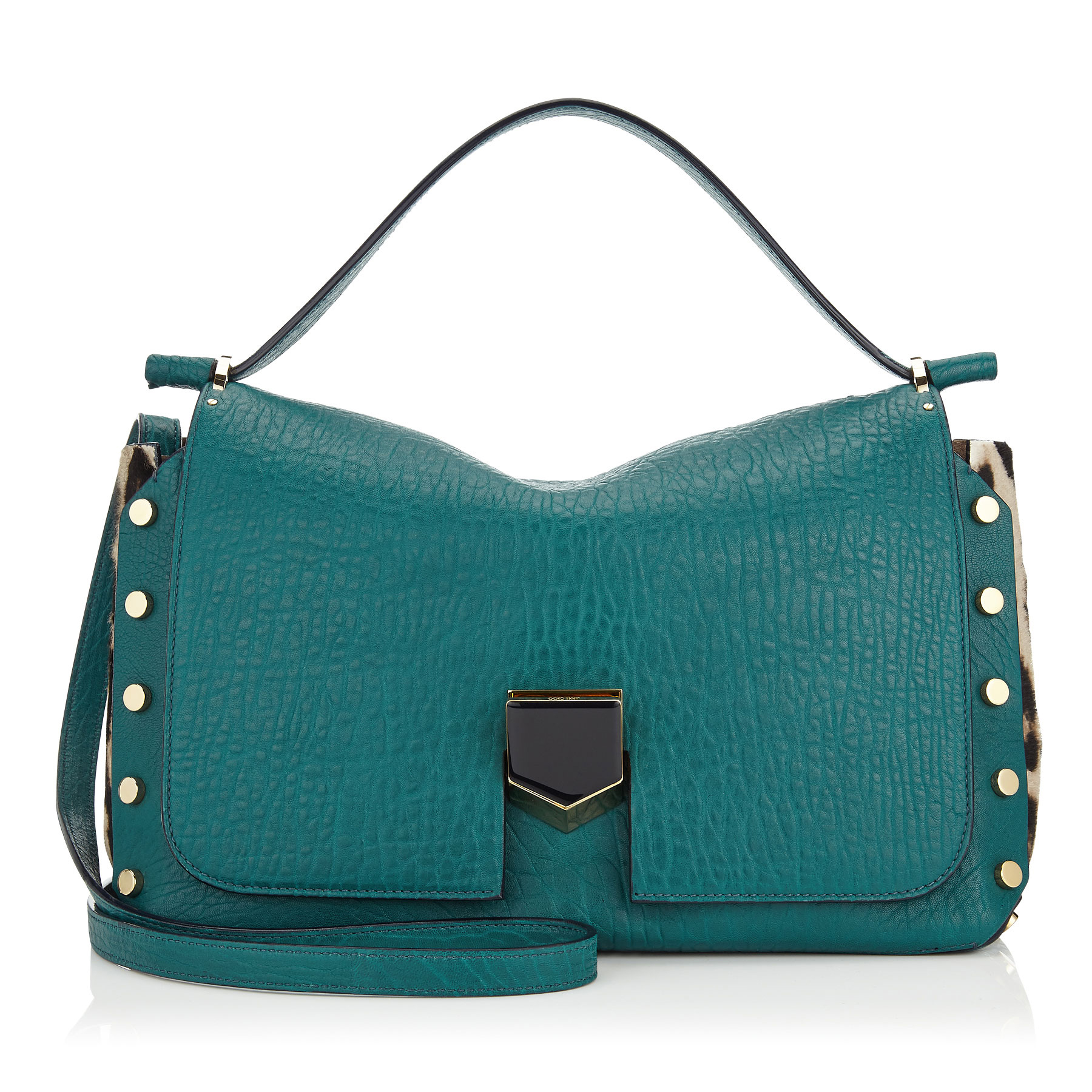 LOCKETT/M Teal Grainy Leather and Snow Leopard Print Pony Handbag