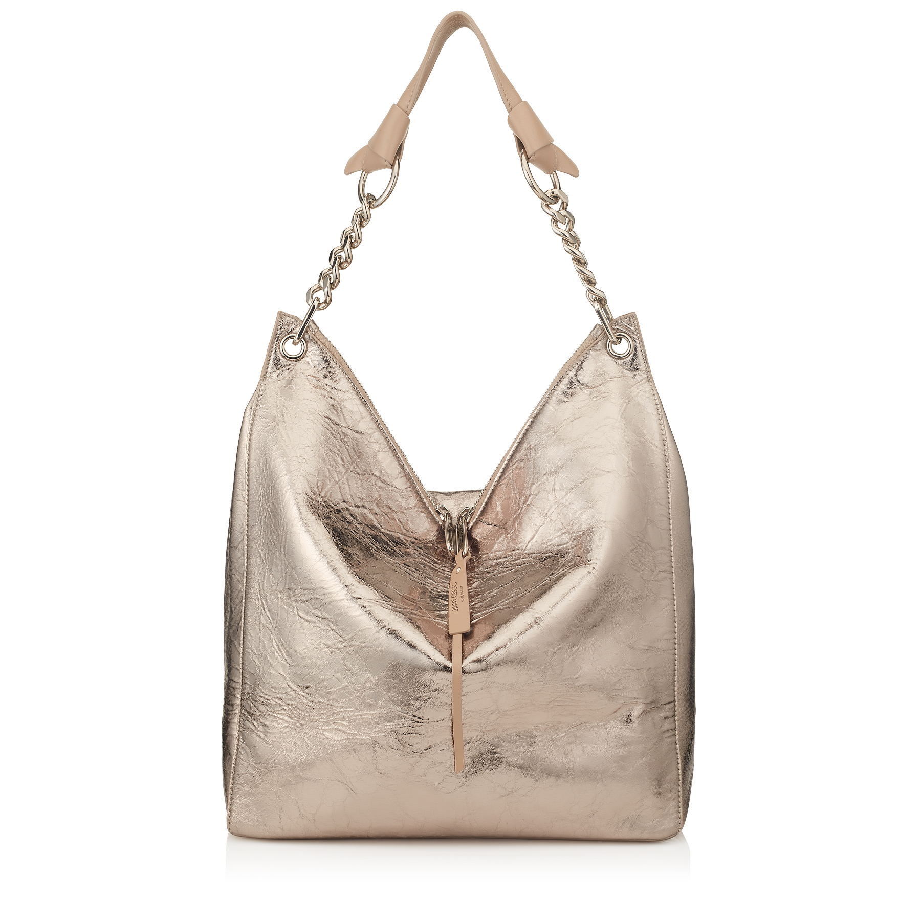 RAVEN Nude Metallic Crinkled Lambskin Shoulder Bag