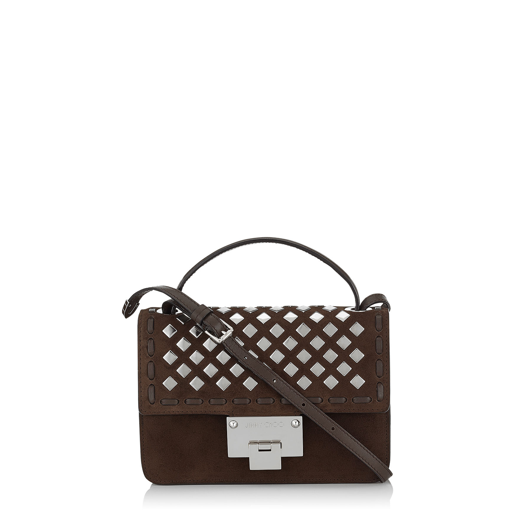 REBEL Pecan Suede with Square Studded Application Cross Body Bag
