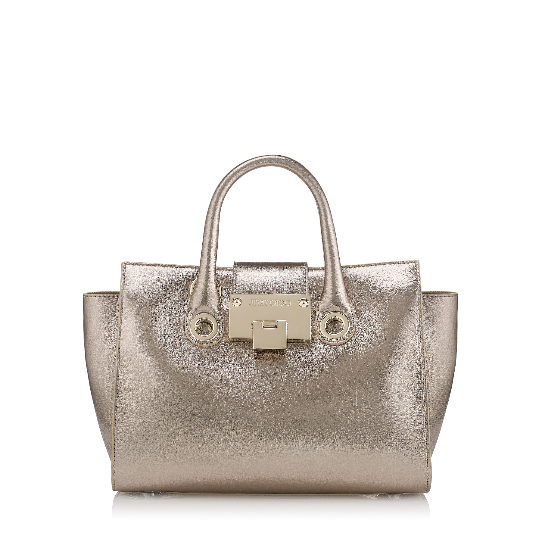 RILEY/S Nude Metallic Crinkled Lambskin Mini Tote Bag