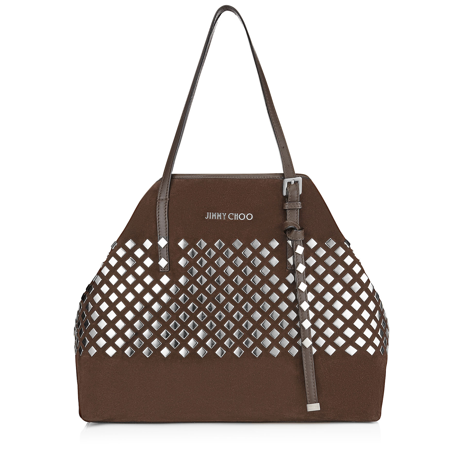 SASHA/M Pecan Suede With Square Studded Application Tote Bag