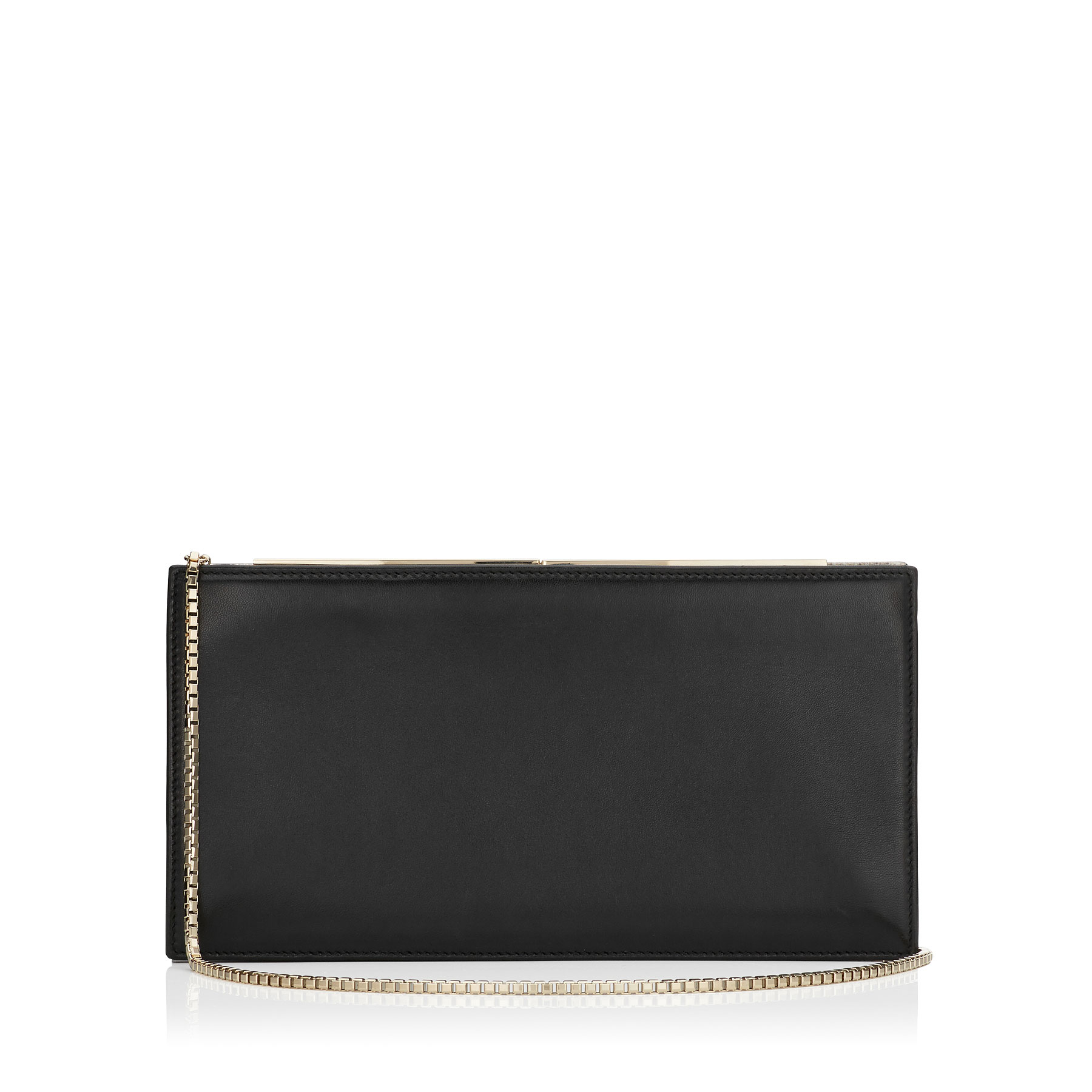 TUX Black Glossy Nappa and Natural Karung Clutch Bag
