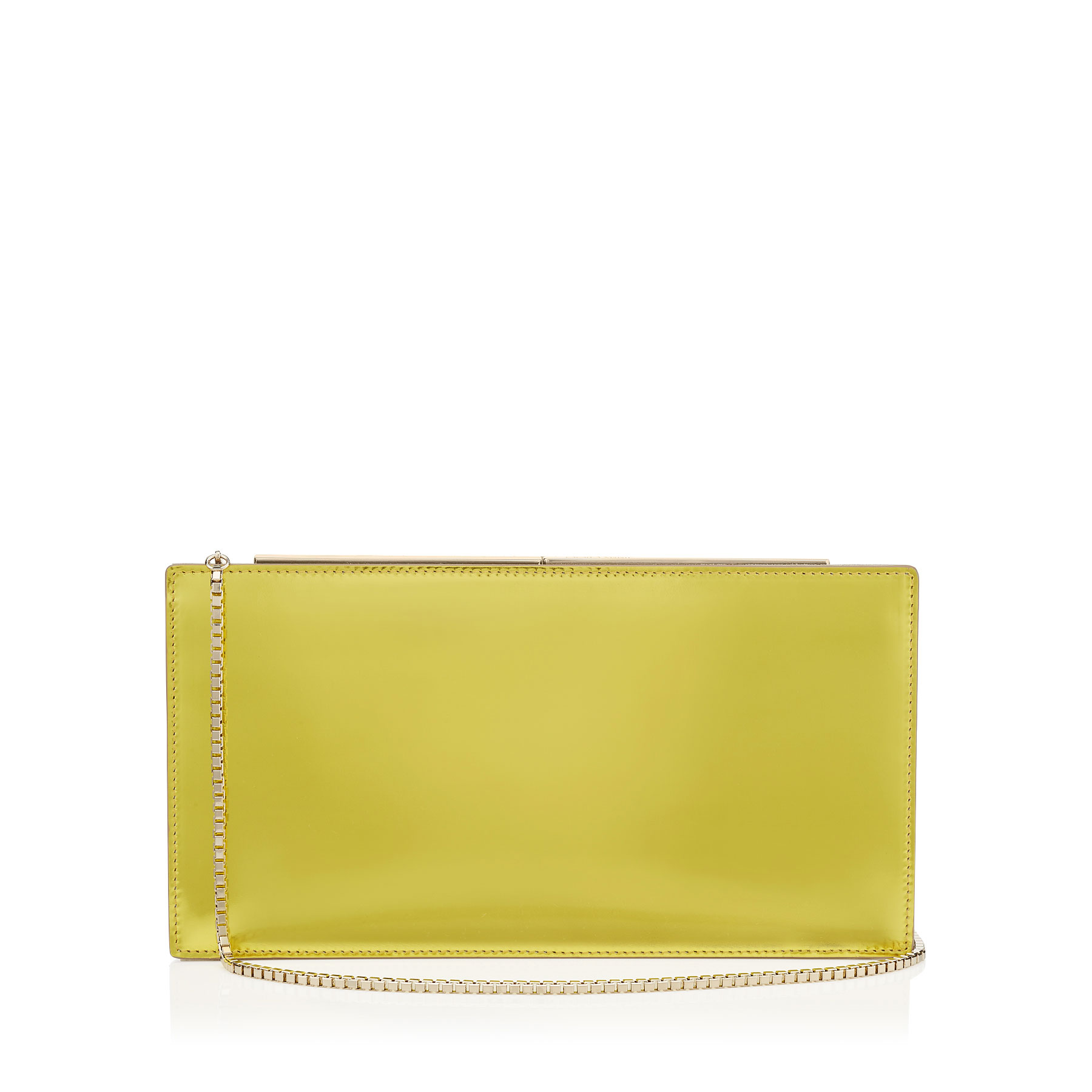 TUX Acid Yellow Mirror Leather and Suede Clutch Bag
