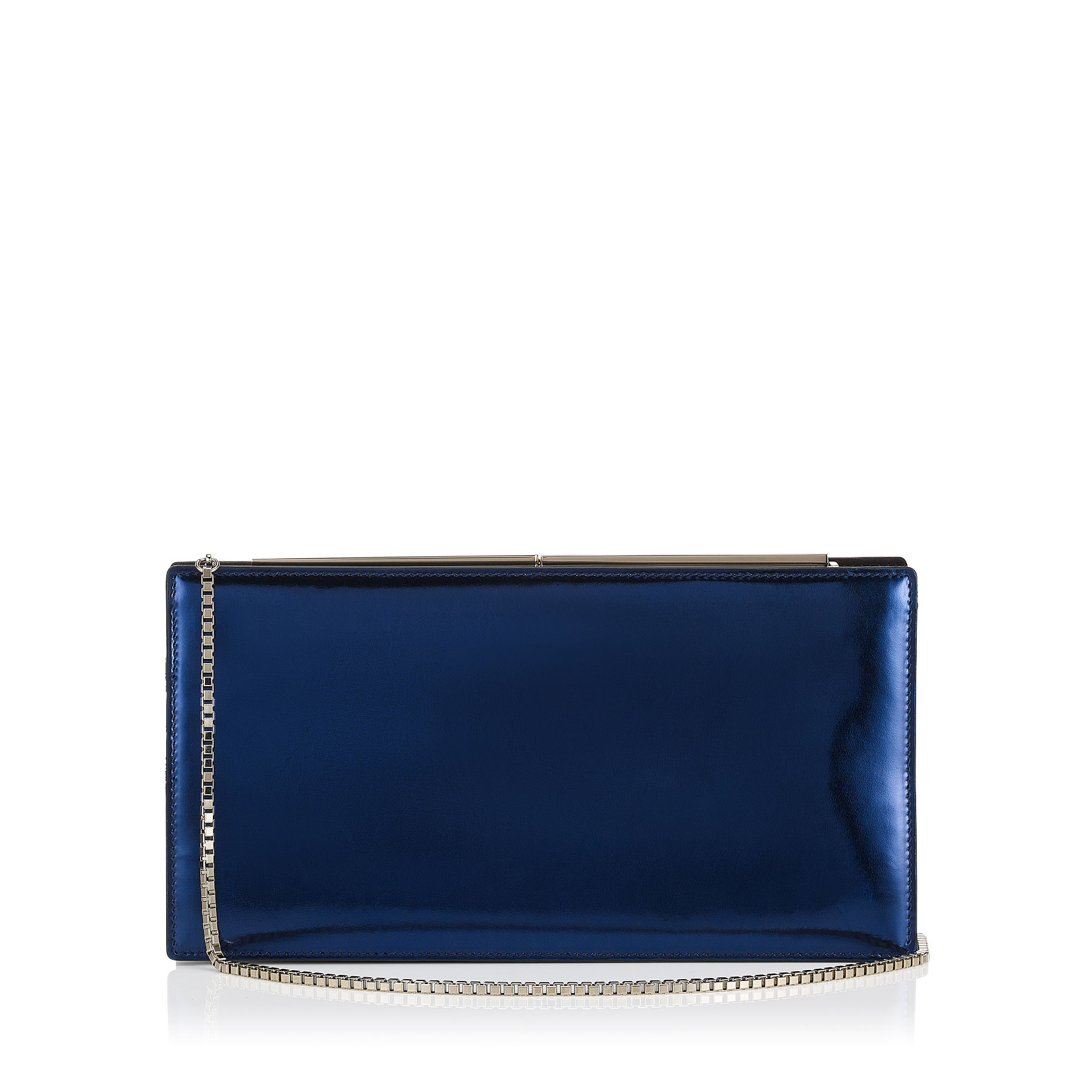 TUX Metallic Denim Mirror Leather and Suede Clutch Bag