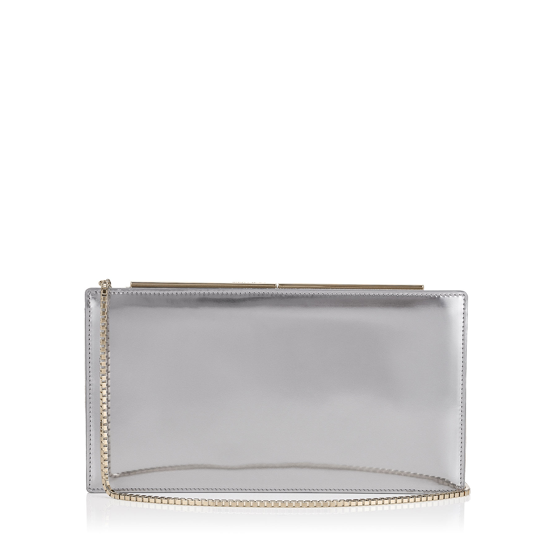 TUX Steel Mirror Leather and Suede Clutch Bag