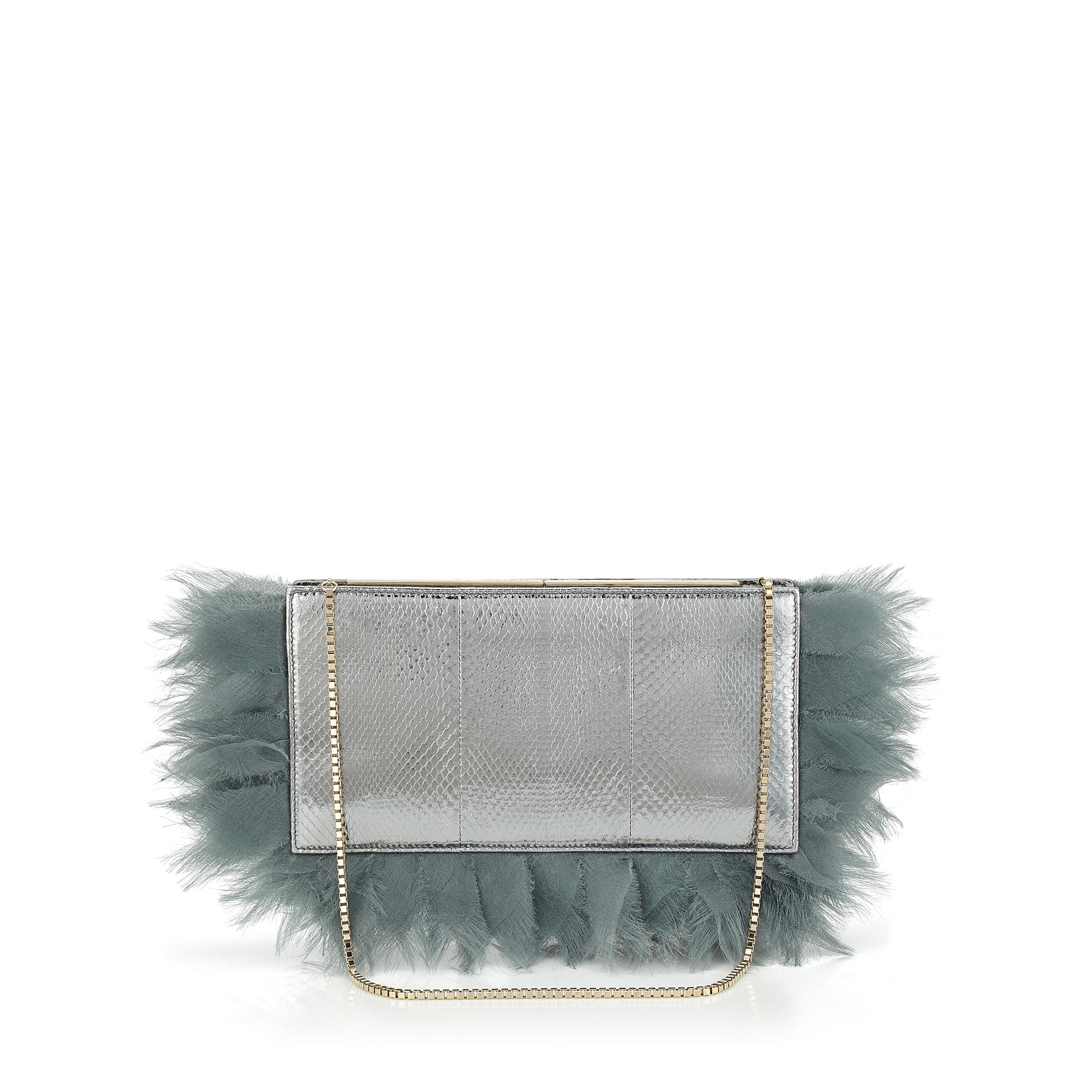 TUX Silver Metallic Watersnake with Fabric Feather Embroidery Clutch Bag