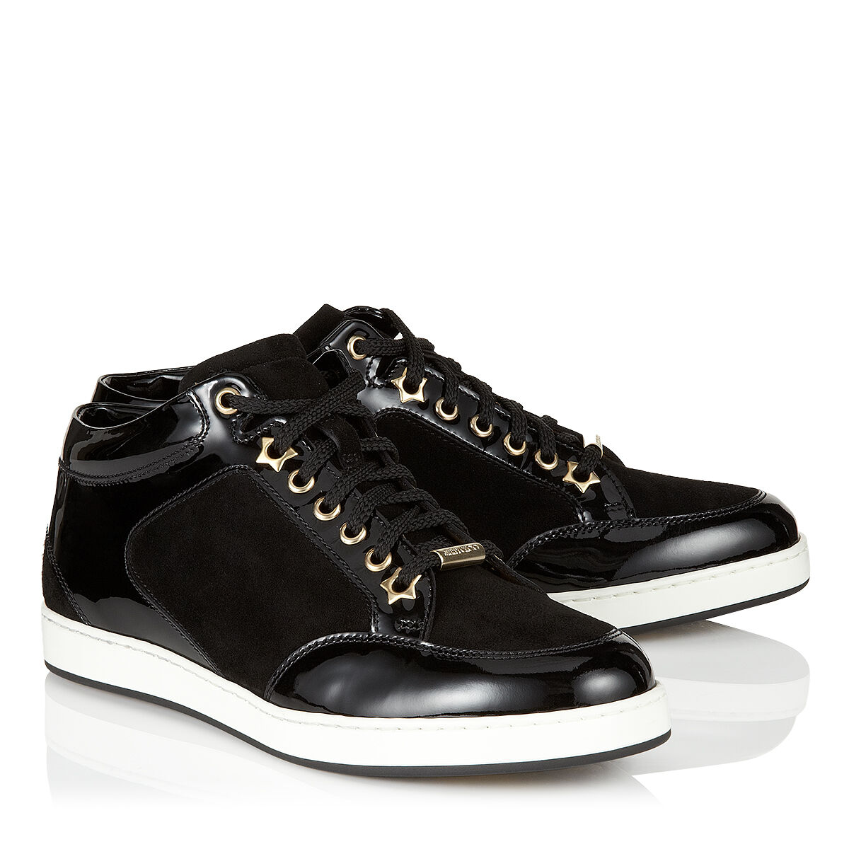 Black Suede and Patent Trainers   Miami