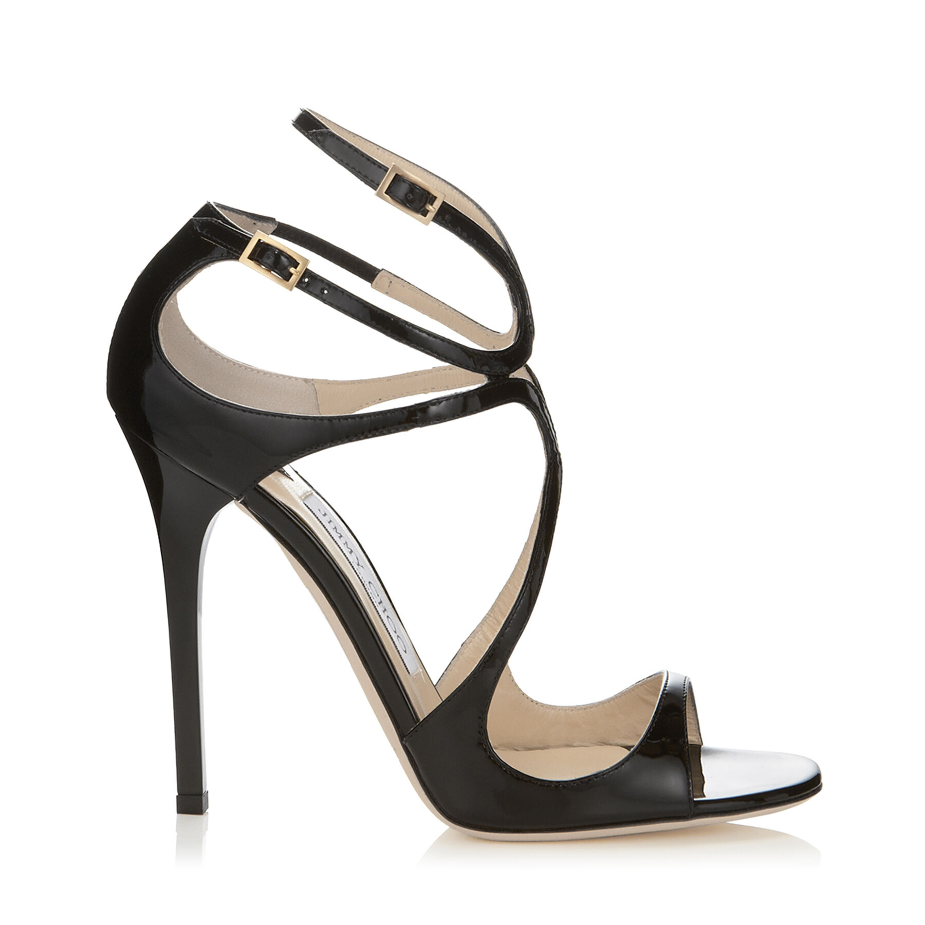 Black Patent Leather Sandals | Strappy