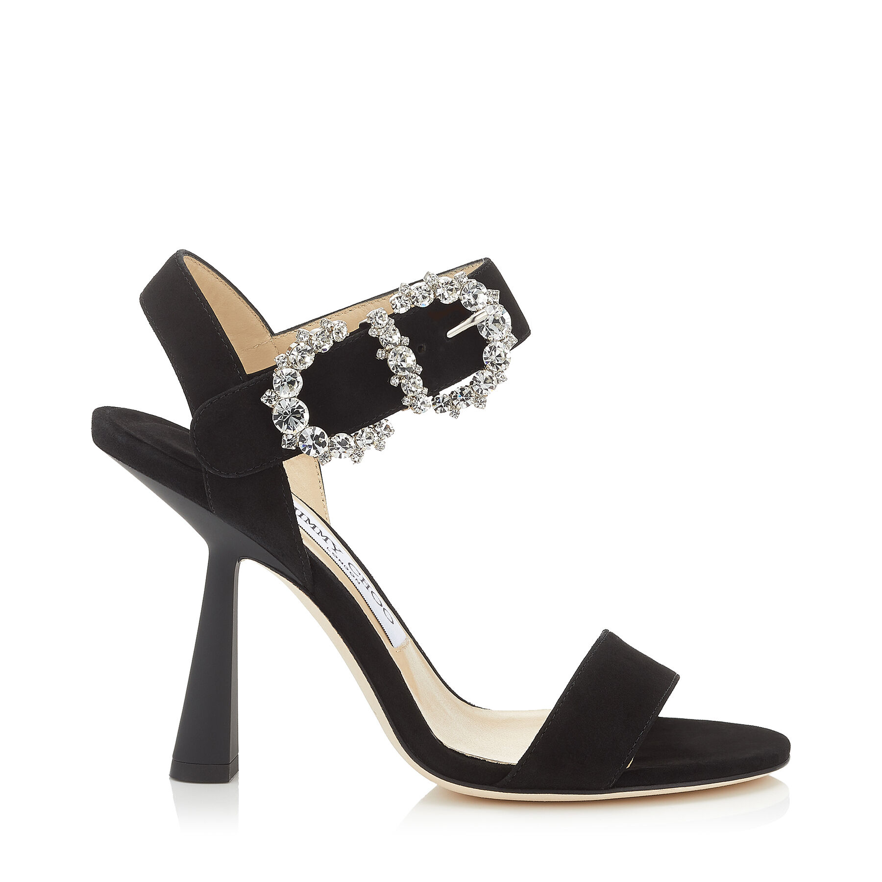 Black Suede Sandal with Jewelled Buckle