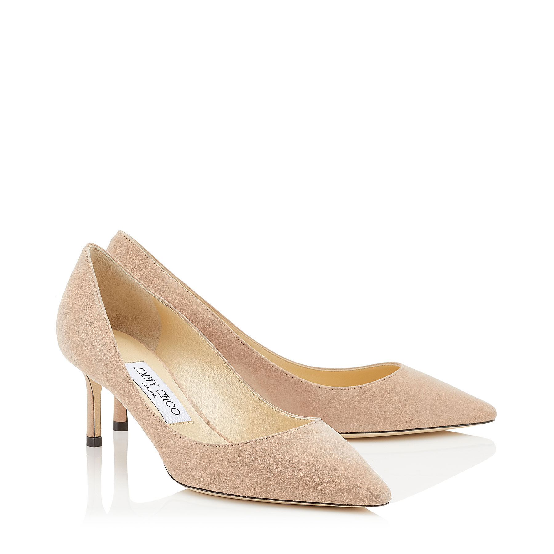 Ballet-Pink Suede Pointed Pumps | ROMY