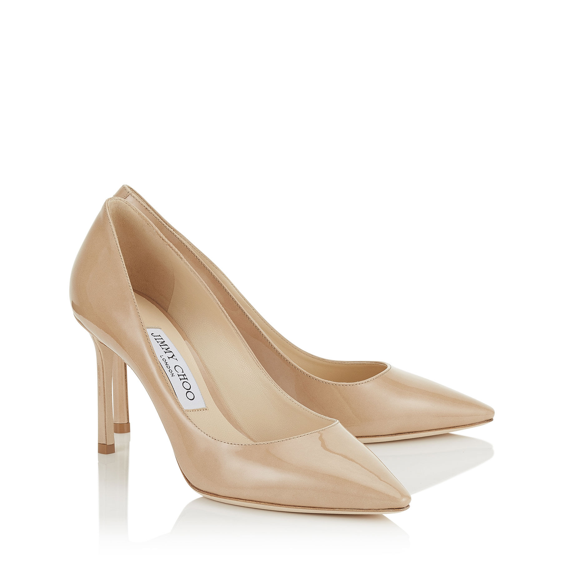 Nude Patent Leather Pointy Toe Pumps