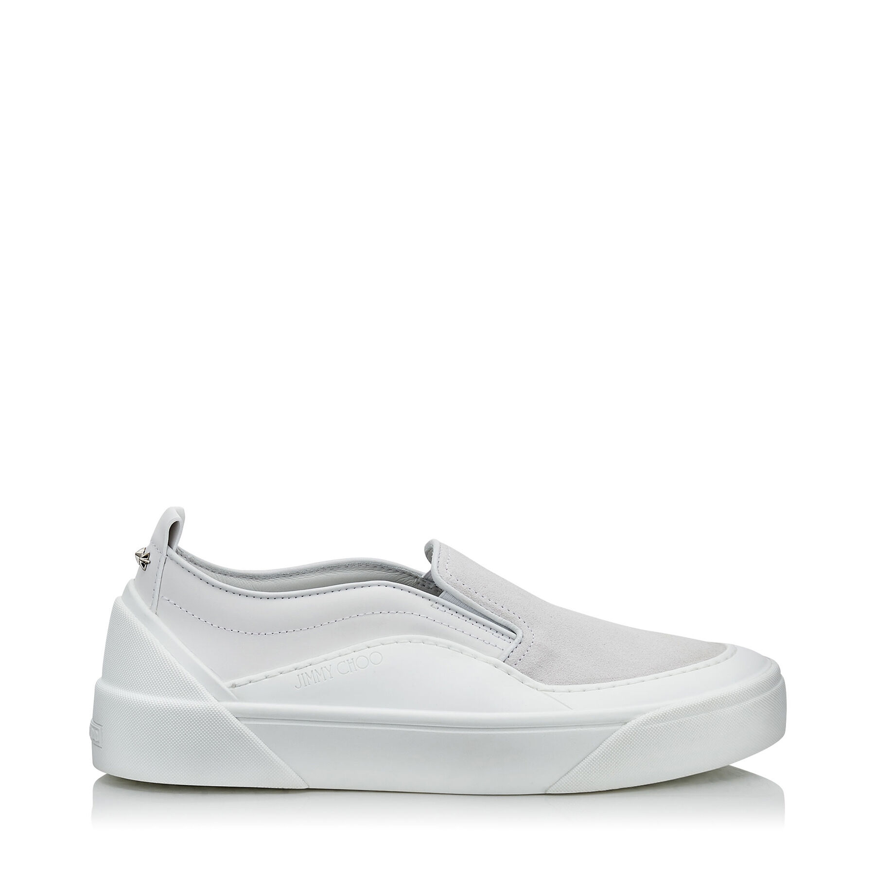 White Suede and Soft Leather Slip On