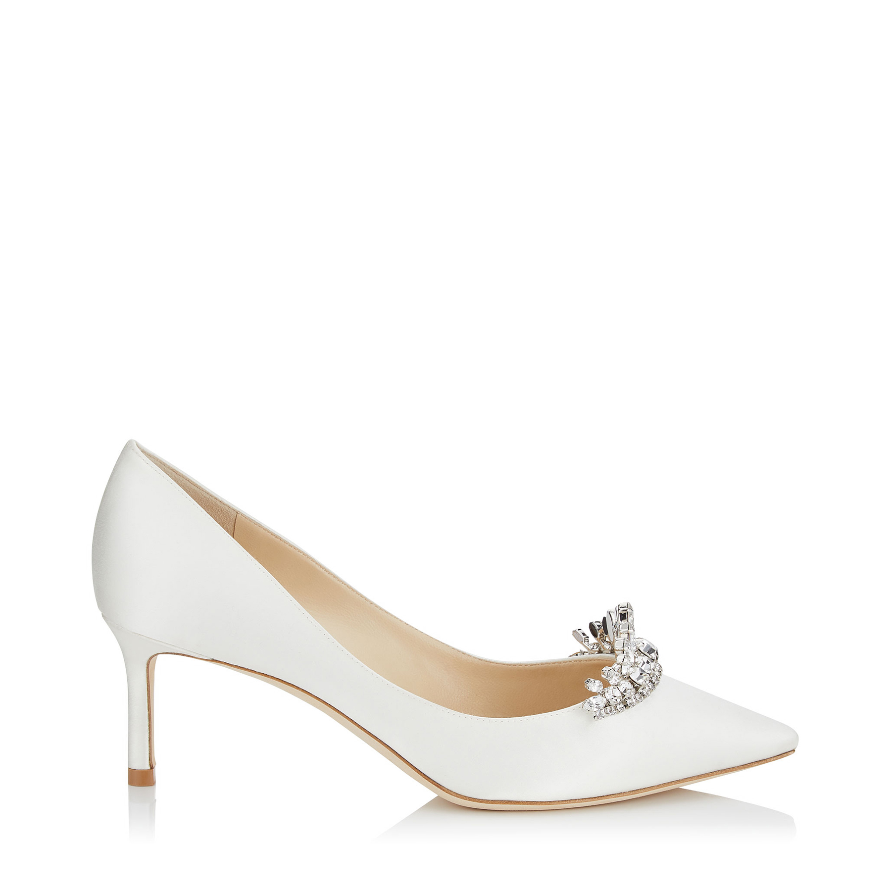 Ivory Satin Pointy Toe Pumps with