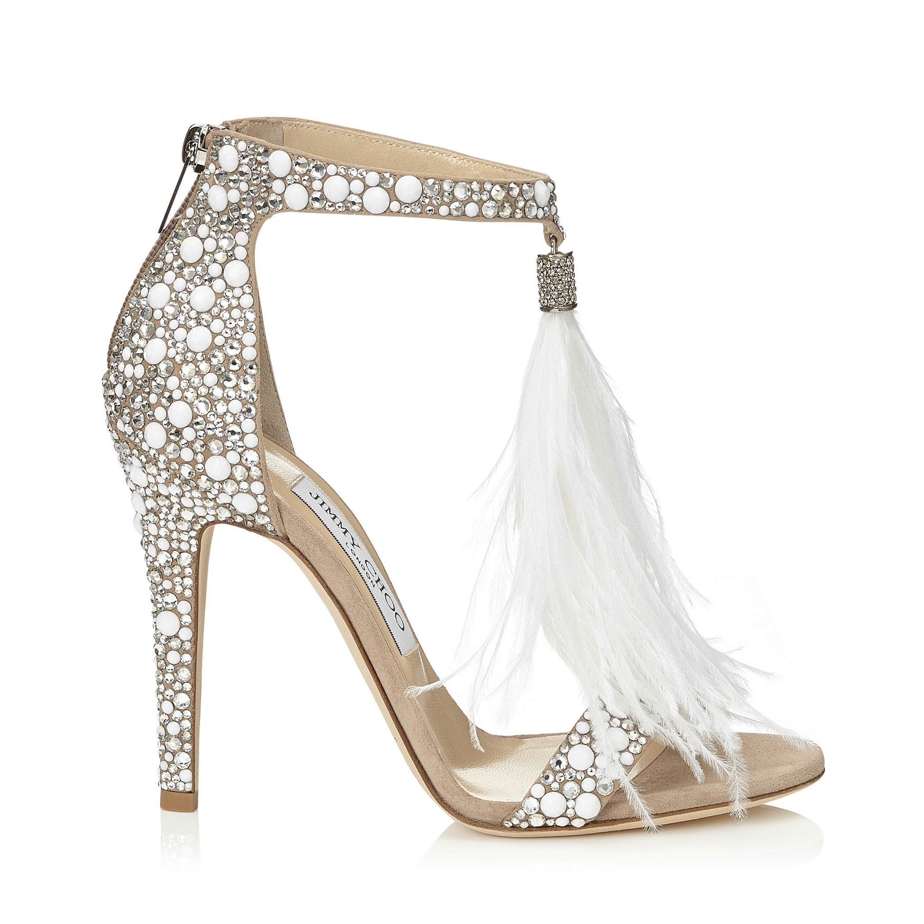 4c06ff648d6a White Suede and Hot Fix Crystal Embellished Sandals with an Ostrich Feather  Tassel